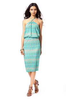 Летнее платье с подкладом и лямочками через шею Vilatte со скидкой