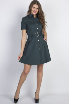 Зеленое платье на пуговицах Bast